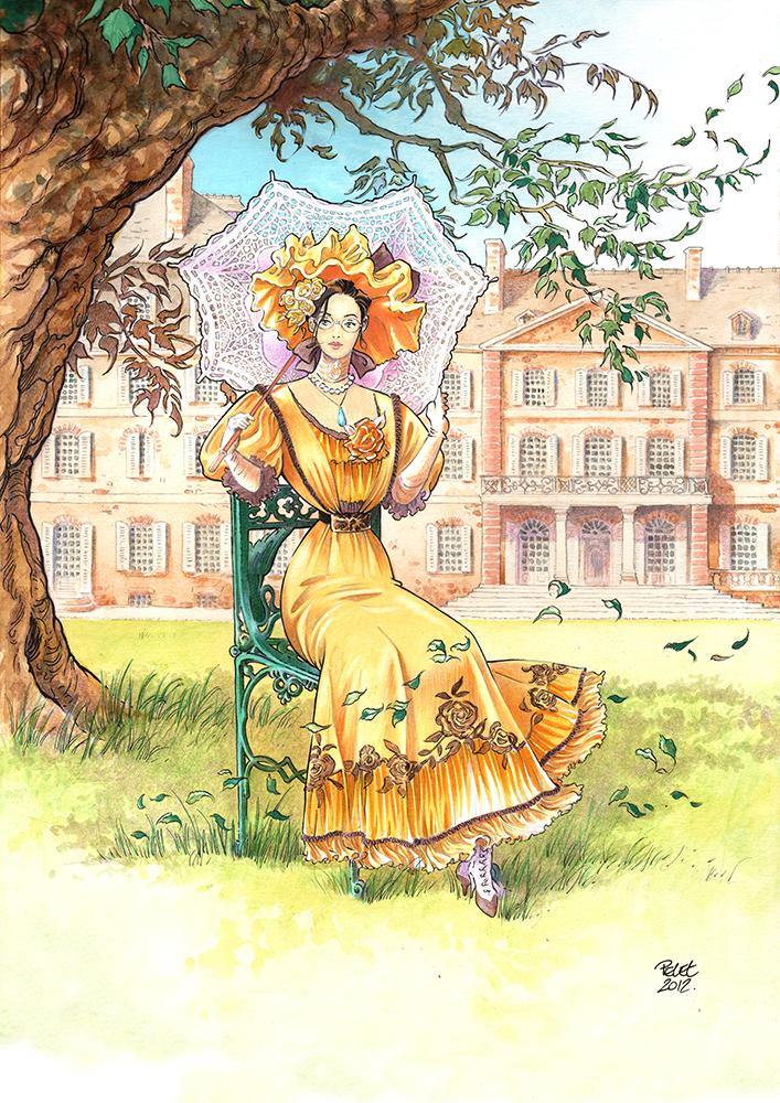 Claude Pelet Illustrateur - Dessinateur BD - Bertille à l'ombrelle (couleur)