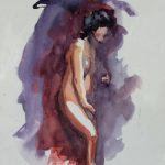 Claude Pelet Dessinateur - Aquarelle - Nus - Dans l'ombre de...