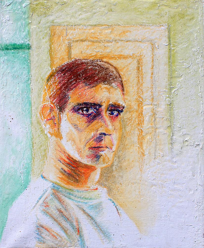 Claude Pelet Artiste Peintre - Portrait - Autoportrait 1993 (pastel)