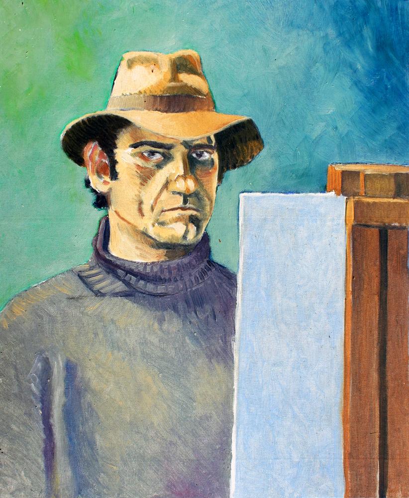Claude Pelet Artiste Peintre - Portrait - Autoportrait au chapeau