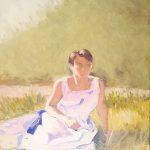 Claude Pelet Artiste Peintre - Portrait - Jeune femme au pré