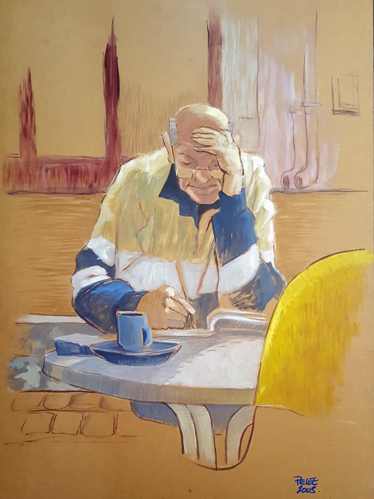 Claude Pelet Artiste Peintre - Portrait - Le cruciverbiste