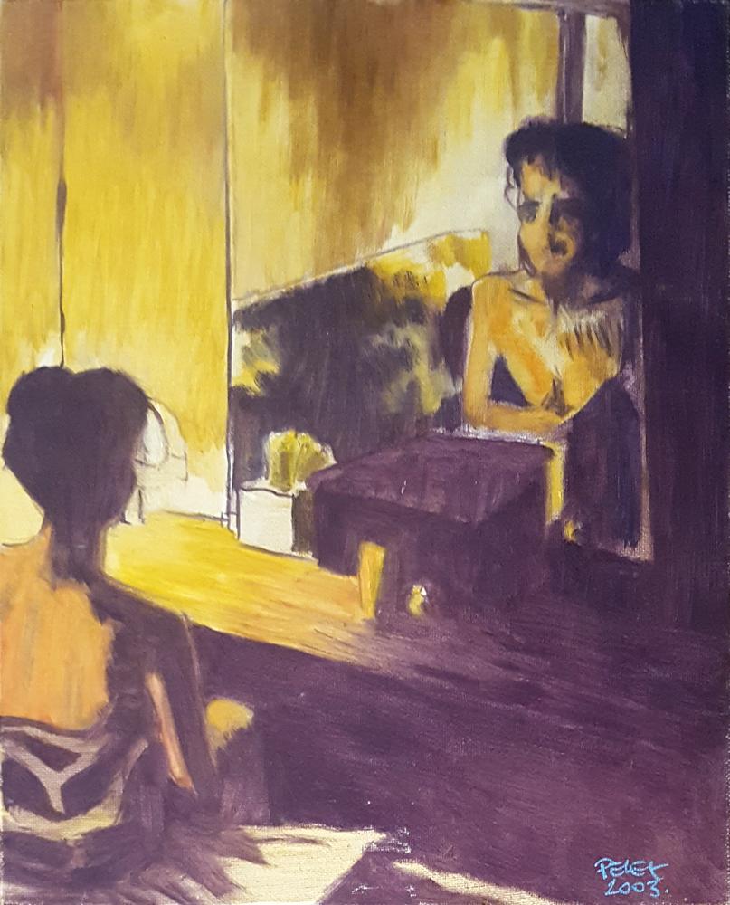 Claude Pelet Artiste Peintre - Portrait - Face au miroir