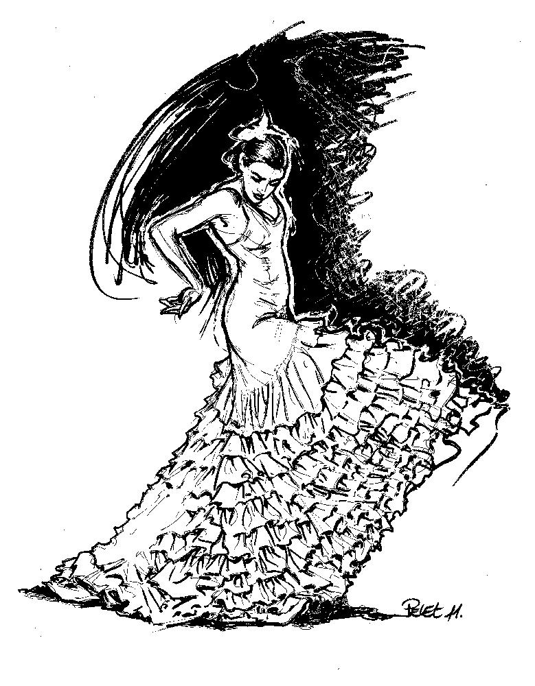 Claude Pelet Dessinateur - Croquis - Flamenca