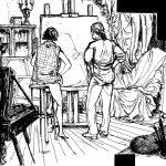 Claude Pelet Dessinateur - Croquis - Le Peintre et son Modèle