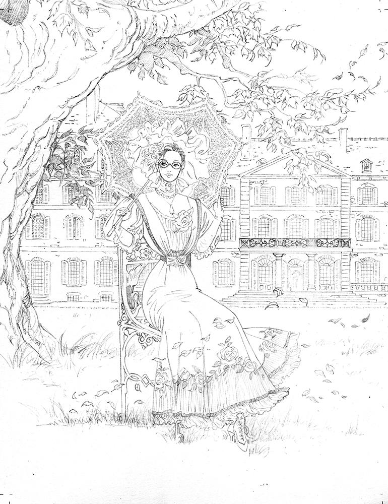 Claude Pelet Illustrateur - Dessinateur BD - Bertille à l'ombrelle (crayon)