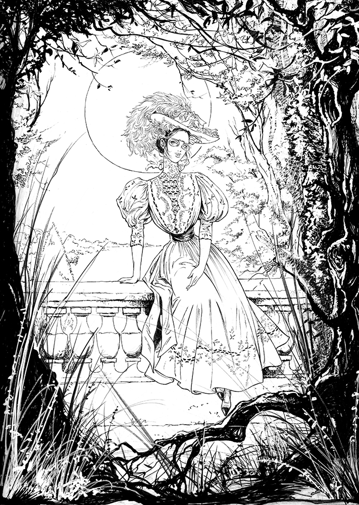 Claude Pelet Illustrateur - Dessinateur BD - Bertille au clair de Lune (encrage)