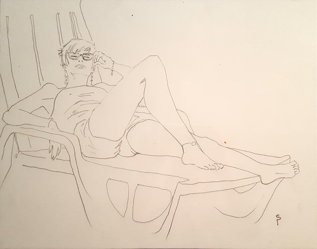 Claude Pelet Dessinateur - Croquis - Bain de soleil