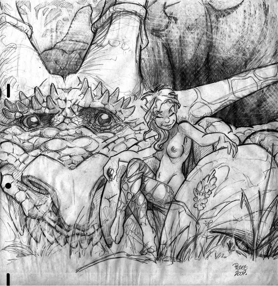 Claude Pelet Dessinateur - Croquis - Fée et Dragon
