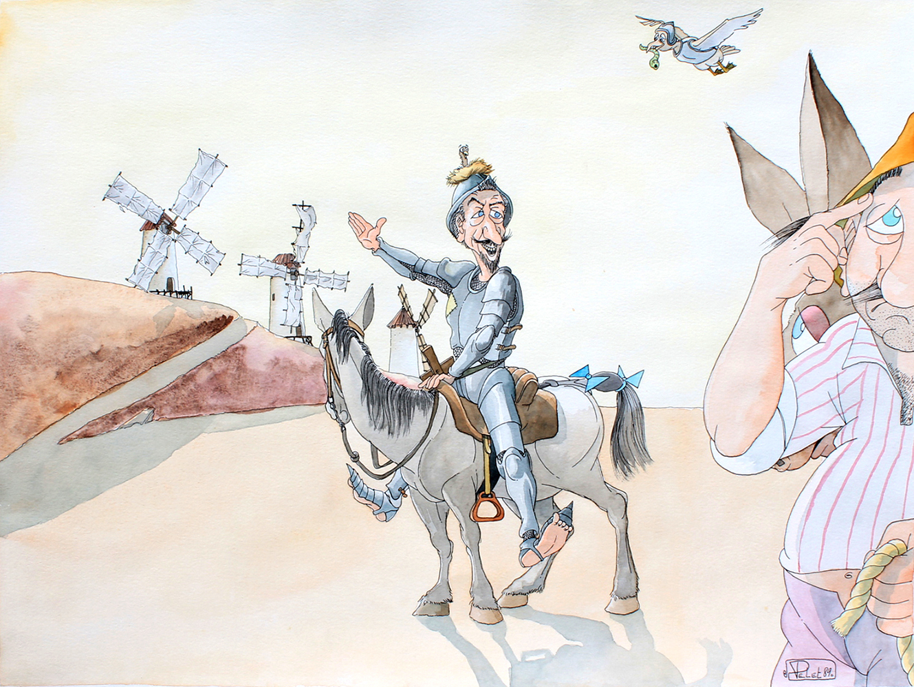 Claude Pelet Dessinateur - Humour - Don Quichotte