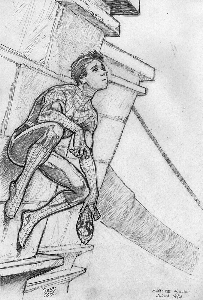 Claude Pelet Illustrateur - Spiderman (croquis)