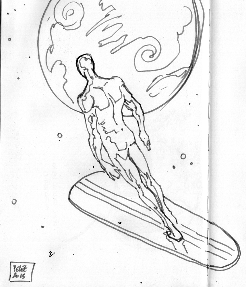 Claude Pelet Illustrateur - Surfer (croquis)