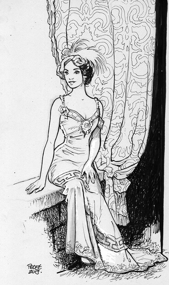 Claude Pelet Illustrateur - Femme au balcon