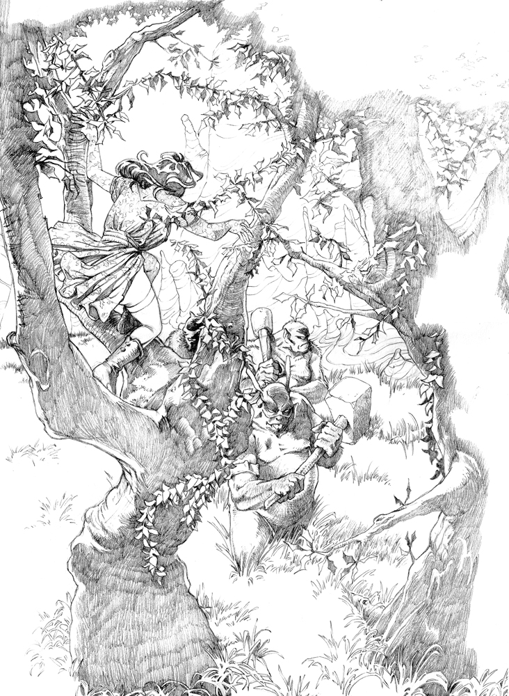 Claude Pelet Illustrateur - La Ronde (crayonné)