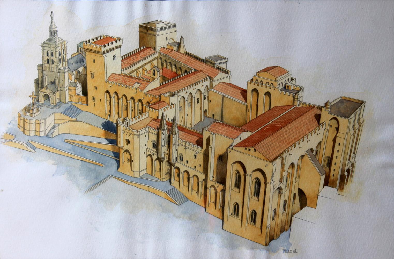 Claude Pelet Illustrateur - Palais des Papes, Avignon