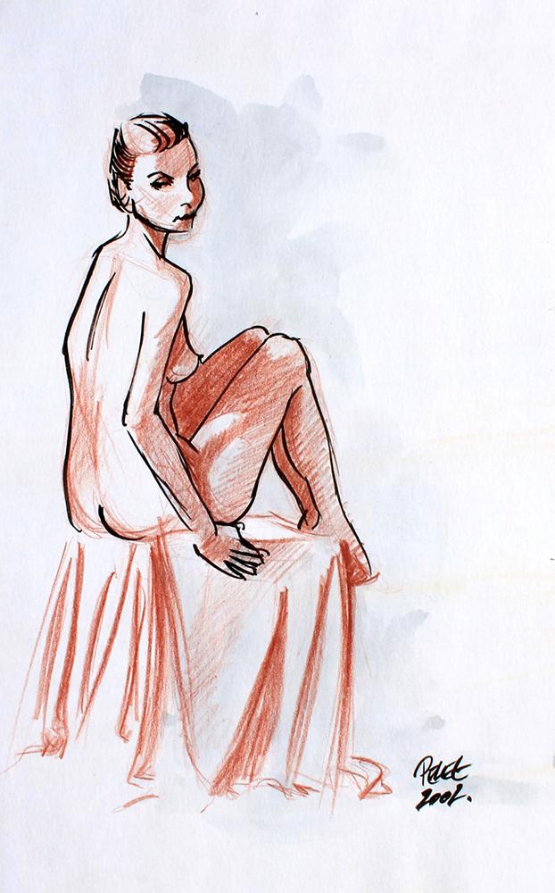 Claude Pelet Dessinateur - Nus - Etude sanguine