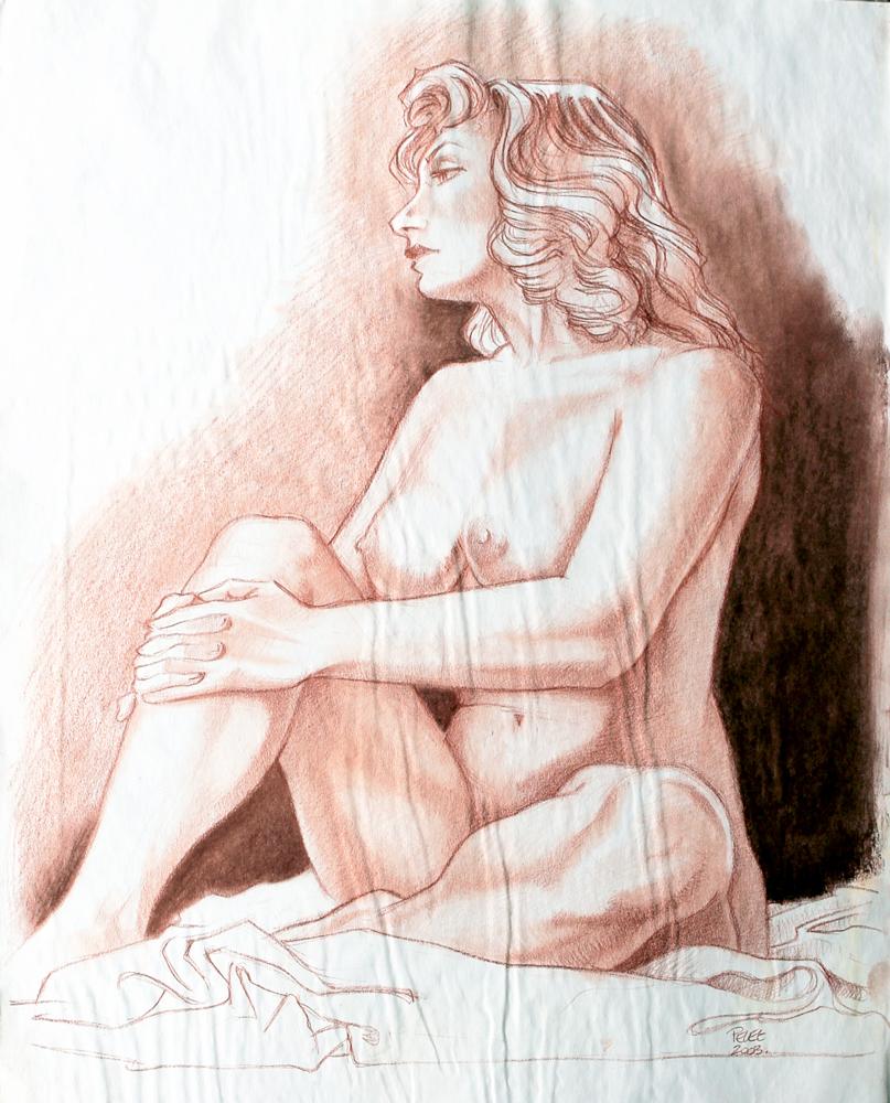 Claude Pelet Dessinateur - Nus - Pensive