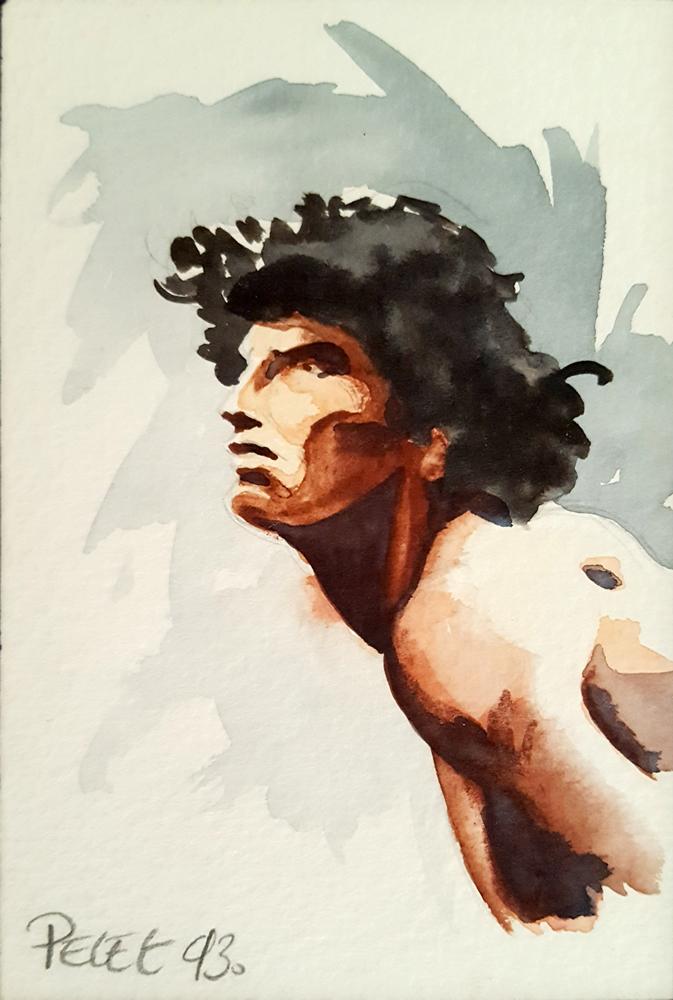 Claude Pelet Dessinateur - Aquarelle - Figure - Bel Epheèbe