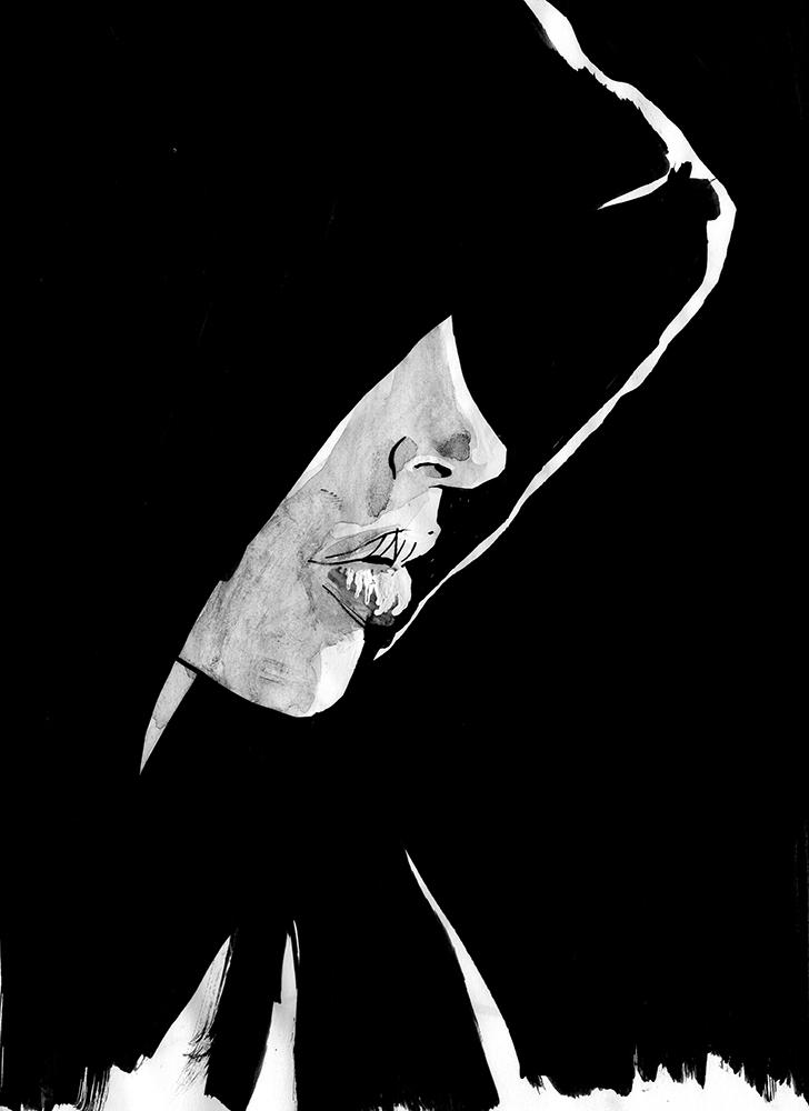 Claude Pelet Dessinateur - Portraits - Capuche