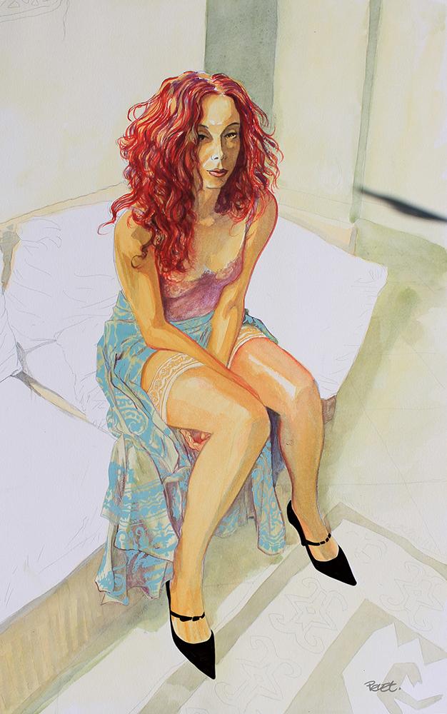 Claude Pelet Dessinateur - Aquarelle - Portrait - Sophie