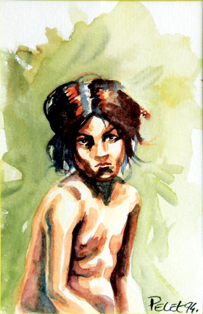 Claude Pelet Dessinateur - Aquarelle - Figure -L'ennui