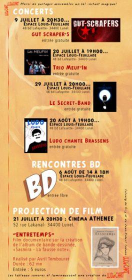 Rétrospective de Claude Pelet - Programme (verso)