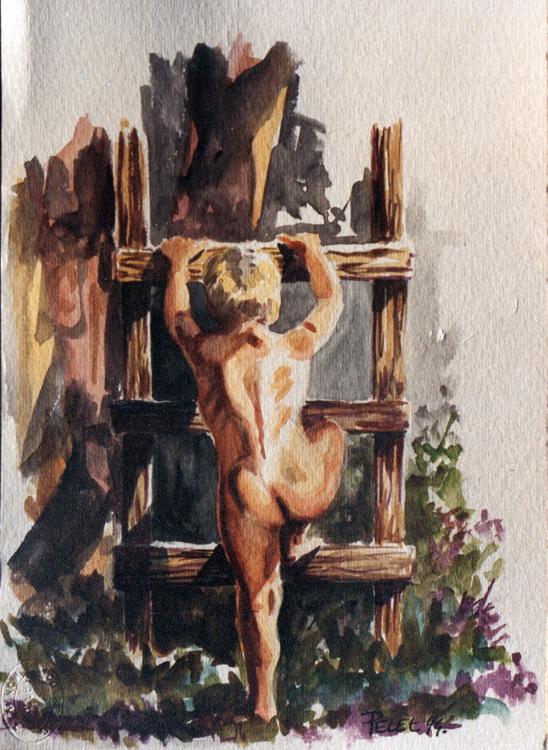 Claude Pelet Dessinateur - Aquarelle - Figure - Enfant à l'échelle