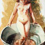 Claude Pelet Dessinateur - Aquarelle - Figure - Petite fille au bain