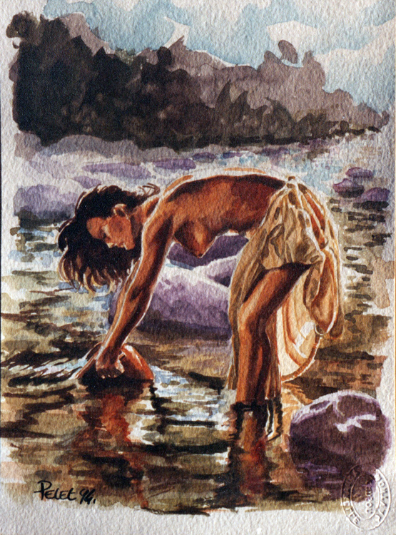Claude Pelet Dessinateur - Aquarelle - Nus - A la cruche