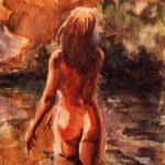 Claude Pelet Dessinateur - Aquarelle - Nus - A la rivière