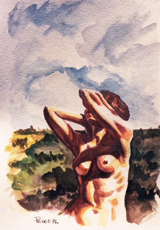 Claude Pelet Dessinateur - Aquarelle - Nus - Bain de soleil