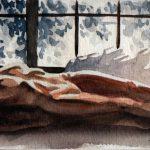 Claude Pelet Dessinateur - Aquarelle - Nus - Couchée bleue