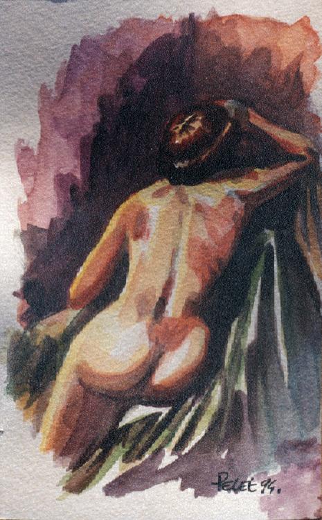Claude Pelet Dessinateur - Aquarelle - Nus - Nu de dos drapé