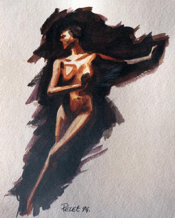 Claude Pelet Dessinateur - Aquarelle - Nus - Pas de danse