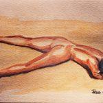 Claude Pelet Dessinateur - Aquarelle - Nus - Sur le sable