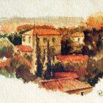 Claude Pelet Dessinateur - Aquarelle - Paysage - Paysage urbain